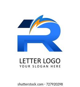 Letter r ELECTRICAL Alphabet Logo