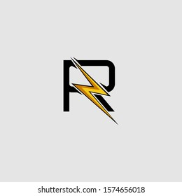 Letter R Electrical Bolt logo icon. Design concept Abstract techno thunder bolt  with letter R for corporate, technology, initial , community and more technology brand identity.