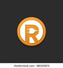 Letter R electrical logo icon design template elements