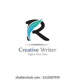 Letter R with feather template design, concept design creative symbol