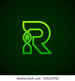 Letter R Green leaf with abstract biotechnology logotype. Medicine, science, laboratory,DNA vector concept