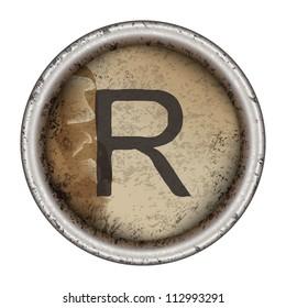 Letter R grunge typewriter key