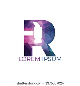Letter R Hammer logo design. Repair, Construction or Renovation Vector Logo Concept.