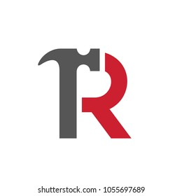 Letter R Hammer Logo, Vector Illustration