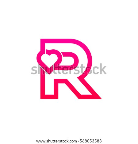 Letter R Heart Logo Pink Color Valentine Day Stock Vector Royalty