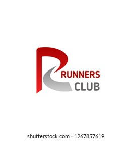 Letter R icon for runners sport club or gym and fitness center. Vector isolated letter R for athletics gym sportswear brand store or joggling run championship contest and marathon tournament