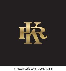 letter R and K monogram golden logo
