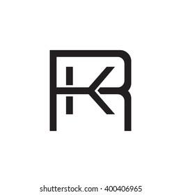 letter R and K monogram square shape logo black