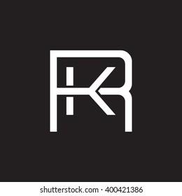 letter R and K monogram square shape logo white black background