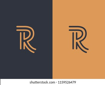 Letter R and K or RK line logo design. Linear minimal monochrome monogram emblem. Universal elegant vector sign. Premium gold logotype. Graphic alphabet symbol for corporate business identity
