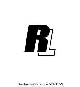 letter R and L logo overlapping black negative
