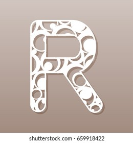 letter R for laser cutting. English alphabet. Vector illustration.