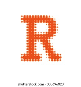 Letter R Of The Latin Alphabet In A Halftone Dot Newsprint Style