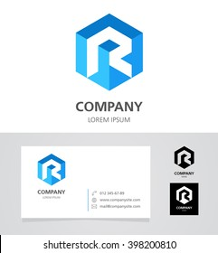 Letter R - Logo Design Element with Business Card - illustration   Vector Logotype Template