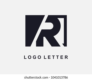 Letter R Logo Design With Square