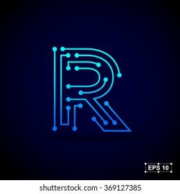 Letter R logo design template,Technology abstract dot connection cross vector logo icon circle logotype