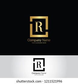 Letter R Logo. Gold Letter Design Vector Golden Luxury Colors