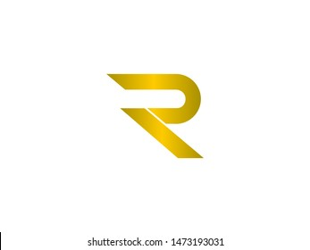 Letter R logo with Gold icon design template