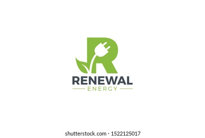 Letter R logo with green background