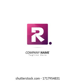 letter R logo inside a square with origami concepts and dot element. Design vector illustration logo for company