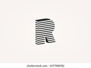 Letter R logo isometric emblem. Black and white monogram. Perspective linear geometric shape.