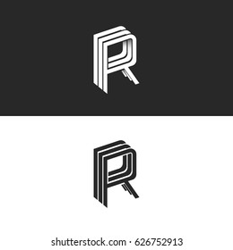 Letter R logo isometric emblem RRR symbol mockup, black and white monogram hipster design element template. Perspective linear geometric shape with shadow.