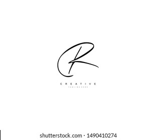Letter R Logo Manual Elegant Minimalism Sign Vector