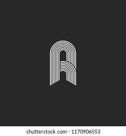 Letter A or R logo monogram, the initial of smooth thin parallel white lines, AR or RA identity emblem for wedding card