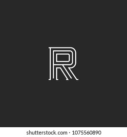 Letter R logo monogram, minimal style identity initial mark, black and white parallel think lines emblem for business cards