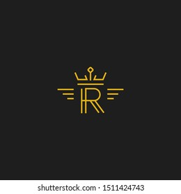 Letter R logo in monoline line style gold color icon with crown and wing