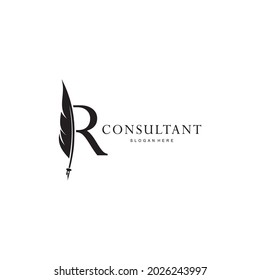 letter R logo and quill .combination of letter R and vector quill .perfect for logos of legal consultants, lawyers, and more