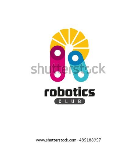 Letter R Logo Robotics Club Concept Stock Vector Royalty Free