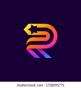 Letter R logo with star inside. Vector parallel lines icon. Perfect font for multicolor labels, space print, nightlife posters etc.