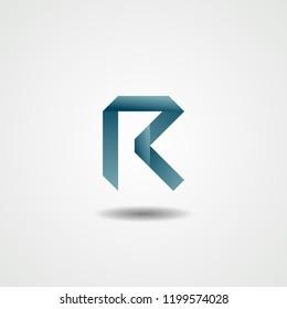Letter R Logo Tape Icon Vector