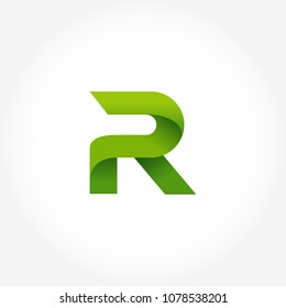 letter R logo template in gradients style. letter R logo template in green color
