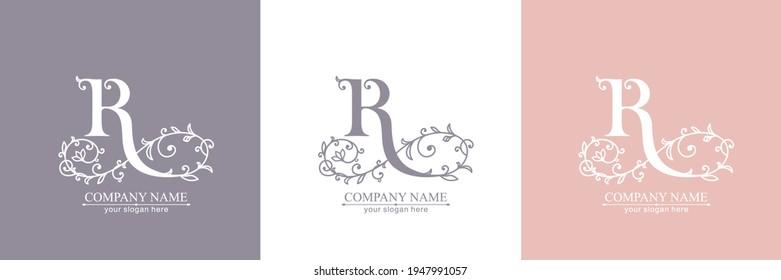 Letter R logo template. Monnogram, delicate floral design. Personal logo. Vector design.