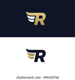 Letter R logo template. Wings design element vector illustration. Corporate branding identity