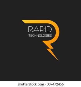letter r logo vector lightning design template brand illustration business icon alphabet