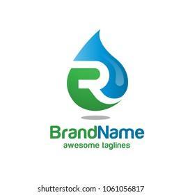 Letter R Logo vector, R Water Logo Design