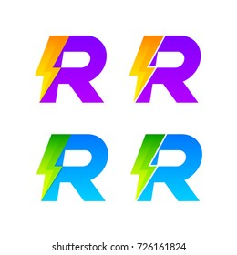Letter R logotype set with Thunder Electric logo, Energy, Power, Flash, Lighting Bolt colorful concept for your Corporate identity vector design template