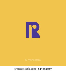 The letter R in the monogram on a yellow background.