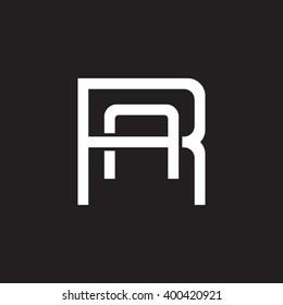 letter R and A monogram square shape logo white black background