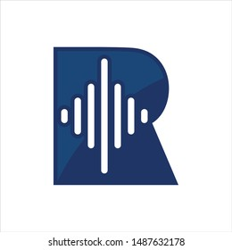 Letter R and Music Equalizer Icon. Vector Logo.