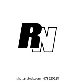 Letter R M Logo Overlapping Black Stock Vector Royalty Free