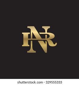 letter R and N monogram golden logo