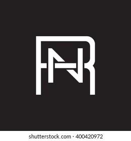letter R and N monogram square shape logo white black background