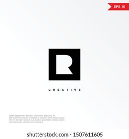 Letter R negative space minimalist logo icon design template elements