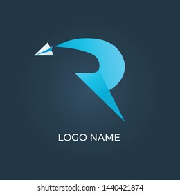 """Letter """"R"""" with paper plane logo isolated"""