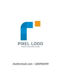 Letter R Pixel Logo Design Template. Alphabet Pixel Motion Logo.