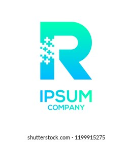 Letter R Pixel and Plus sign, Technology and digital, Medical healthcare hospital Logotype for your Corporate identity